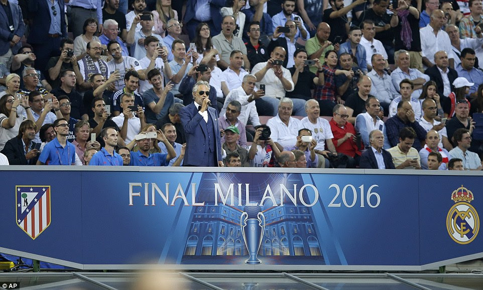 Opera singer Andrea Bocelli performs prior to the  final and the Italian gave an unforgettable version of the Champions League anthem