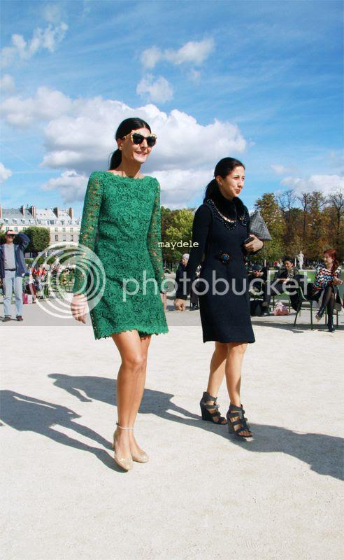 Giovanna Battaglia wearing Valentino resort 2013 lace dress and Valentino shoes