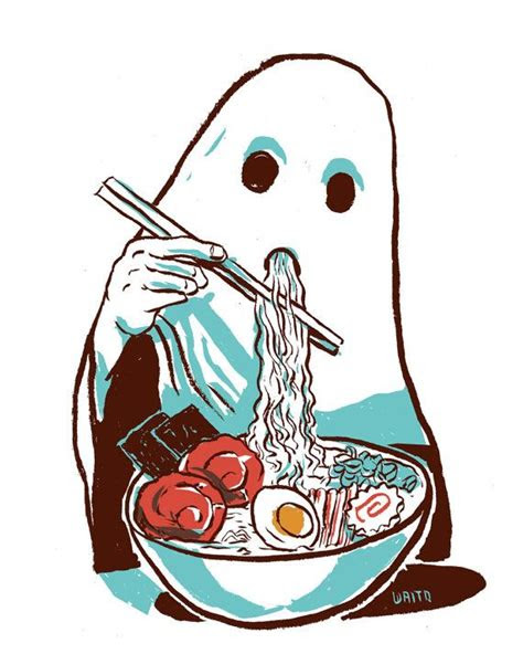 ghost eating ramen illustration glicee print