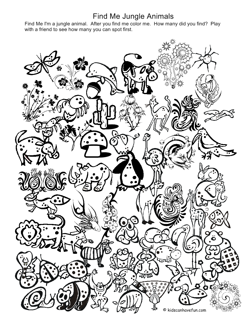 Jungle Coloring Pages (2) - Coloring Kids
