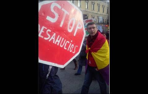 La plataforma 'Stop Desahucios', presente en la marcha de Madrid. -AB