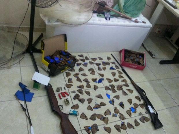 Polícia também apreendeu objetos utilizados em caça, espingardas e munição (Foto: Divulgação/Polícia Ambiental)