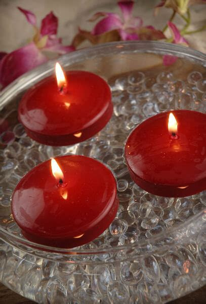 "12 Red 3"" Floating Candles"