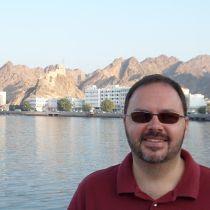 Darren at the harbour in Muscat, Oman