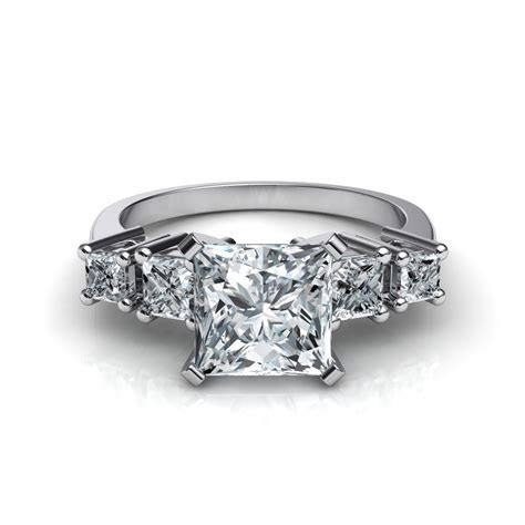 5 Stone Princess Cut Engagement Ring