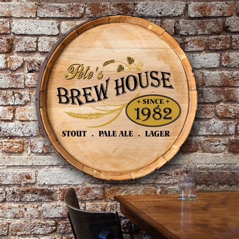 Personalized Authentic Barrel Top Signs Home Bar   The Man