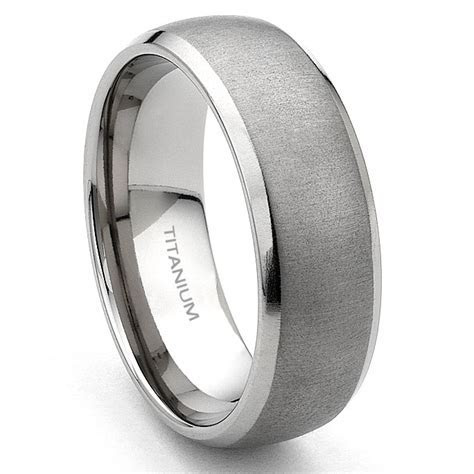 Titanium 7mm Brushed Men's Wedding Band Ring