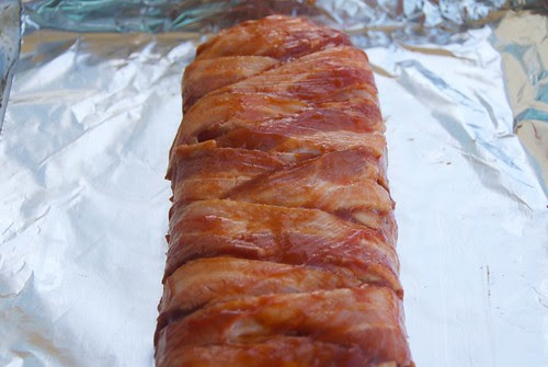 bacon wrapped meatloaf, uncooked