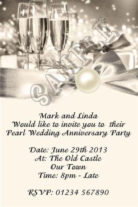 Personalised 30th Pearl Wedding Anniversary Invitations