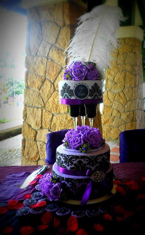 Regal Purple & Black Damask Wedding Cake ? 3 Tier