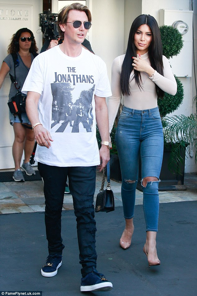 He's my BFF now: Kamilla was seen leaving the building a short while afterwards with Kim's best friend Jonathan Cheban