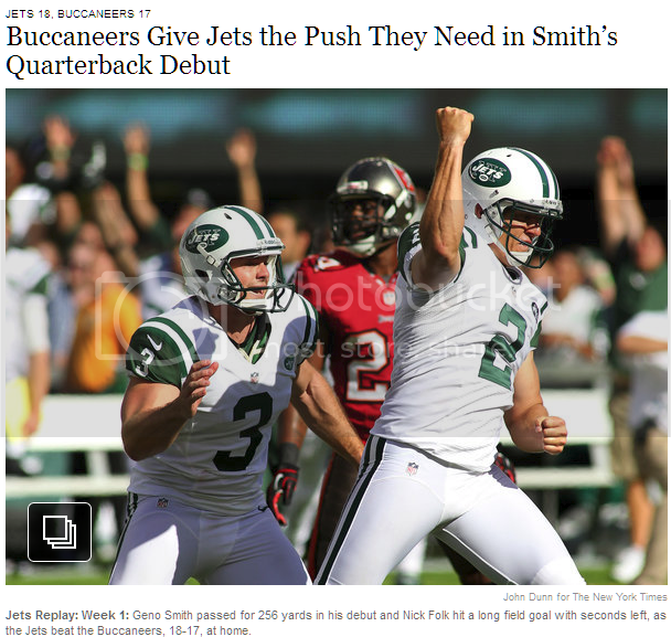 Screenshot showing a photo, a headline, and a photo caption all about Geno Smith.  Except for the photo.