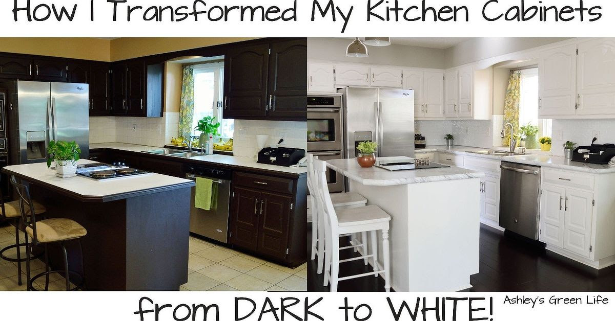 How to Paint Your Kitchen Cabinets From Dark to White ...
