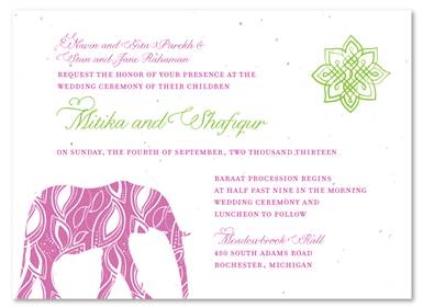 Painted Elephant Wedding Invitations