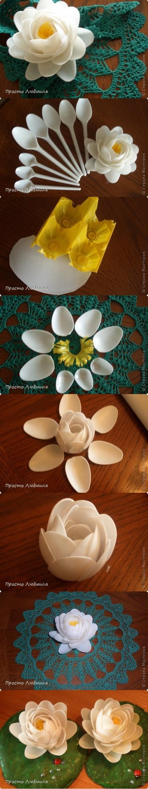 How To Make Water Lily Flowers With Recycled Plastic Spoons