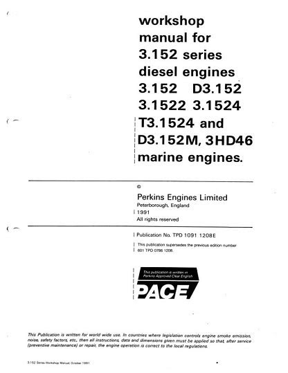 Perkins 3.152 Series Diesel Engines Workshop Manual