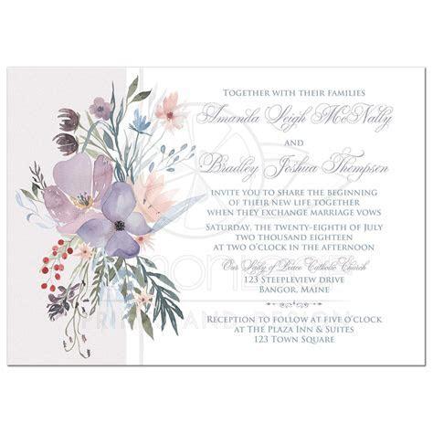 Bohemian Wildflowers Wedding Invitation   Smoky Lavender
