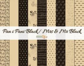 Zestaw papierów- Pan i Pani Black 15x15 cm