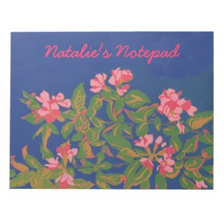 Custom Notepad or Jotter, Pink Japonica on Blue