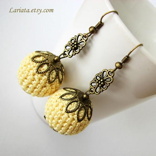 crochet bead earrings in yellow