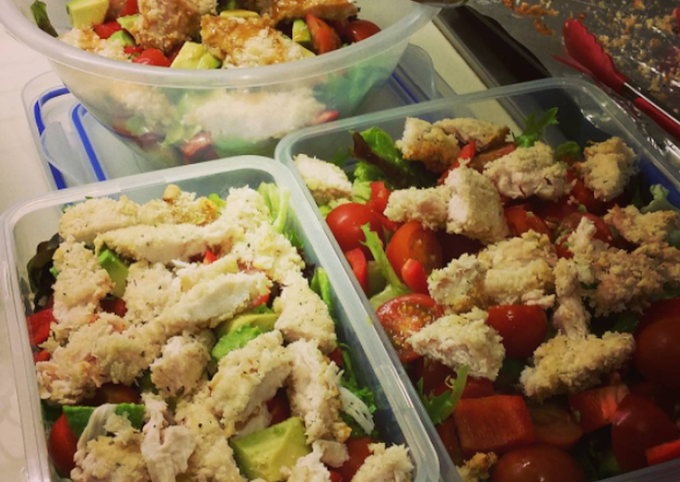Easiest Way to Prepare Favorite Healthy Breaded Chicken with Salad