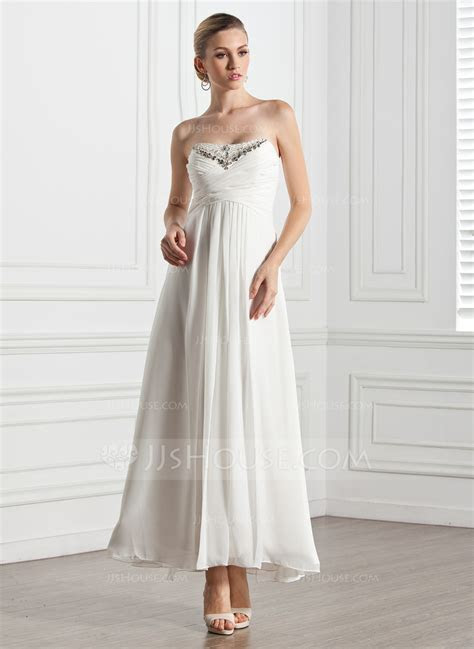 Empire Sweetheart Ankle Length Chiffon Evening Dress With