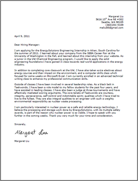 Cover Letter Example Basic Cover Letter Example For