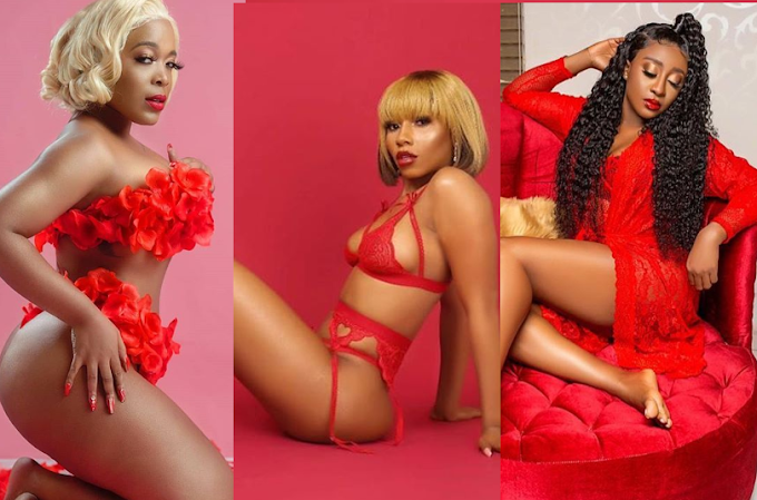 See how Ini Edo, Mercy Eke, Moet Abebe others lightened up Instagram with racy red lingerie on Valentine's Day (Photos)