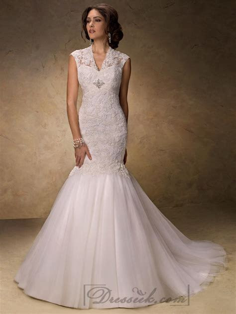 Fit And Flare V neck Lace Wedding Dresses With Illusion