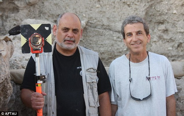 Discovery: The coin was found by Professor Shlomo Bunimovitz (right) and Dr Zvi Lederman (left)