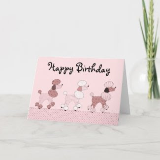 Pink Poodles On Parade Card card