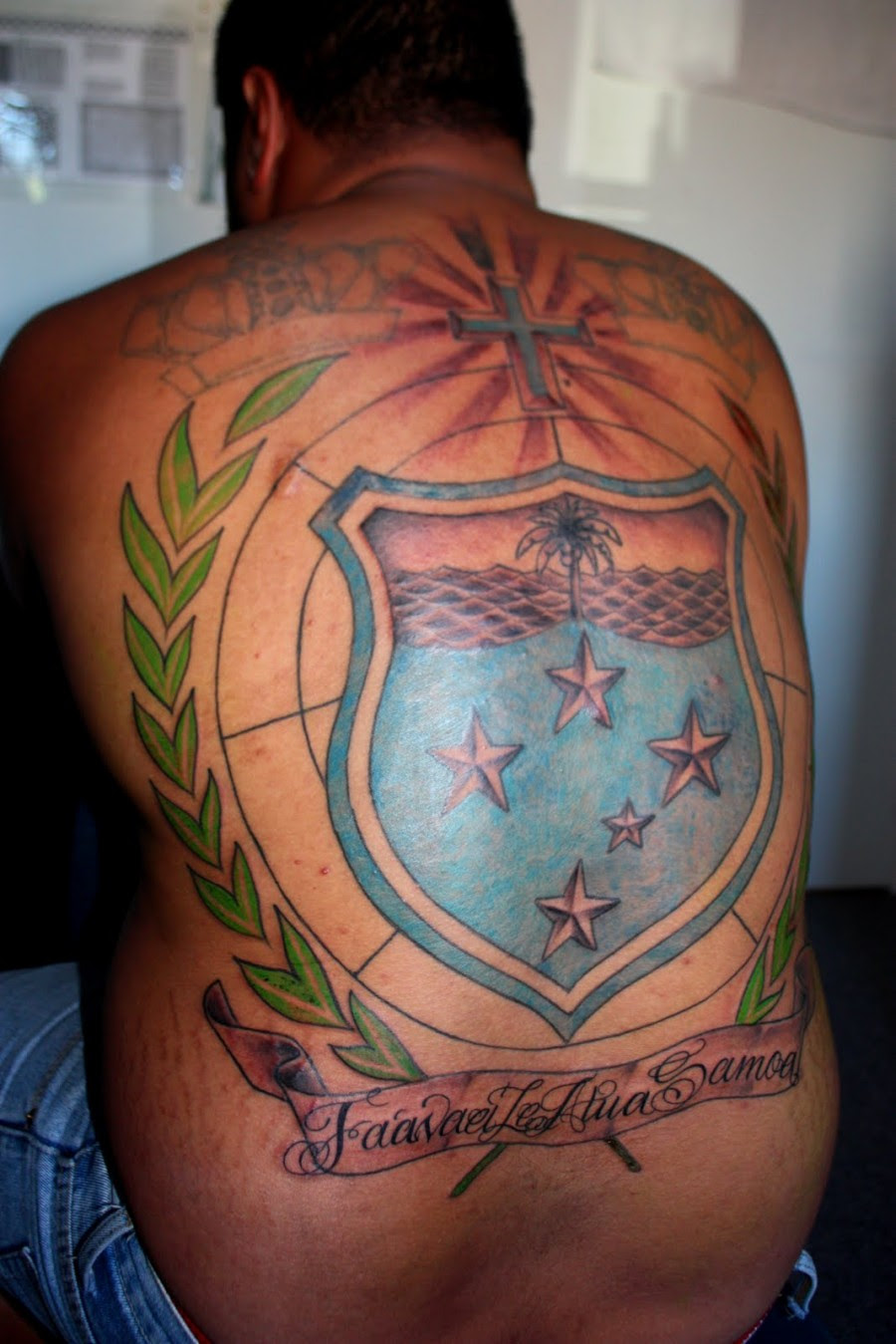 Awesome Full Back Cross And Logo Tattoo Design For Men Tattoomagz