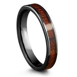 4mm High Tech Ceramic Koa Ring with Flat Design ? Northern