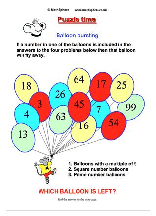 maths puzzle 06 balloon bursting