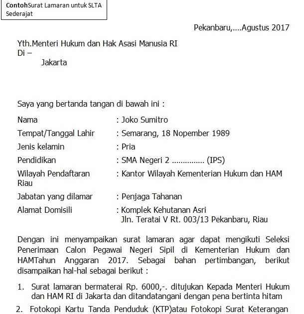 format terbaru contoh surat lamaran cpns kementerian hukum dan ham tahun 2017 ramalan berita