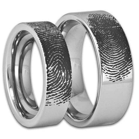 Couples Custom Engraved Pipe Cut Tungsten Fingerprint