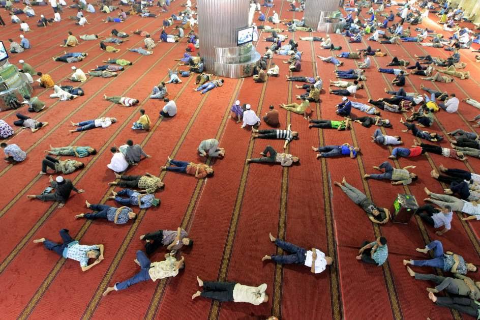 Descanso en la mezquita de Istiqlal