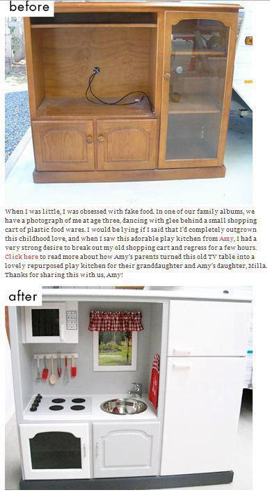 Turn Your Old Entertainment Center Into a (Play) Kitchen ...