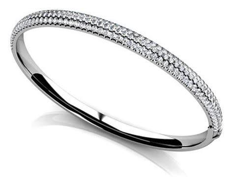 Tennis Connection Triple Row Pave Diamond Bangle Bracelet