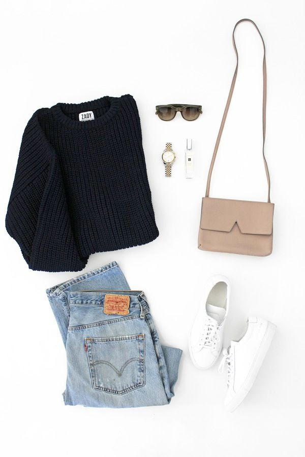 Le Fashion Blog Chunky Sweater Fall Style Zady Knit Celine Sunglasses Vince Nude Bag Vintage Levis 501 Jeans White Common Projects Sneakers Casual Thanksgiving Look By Jenn Camp