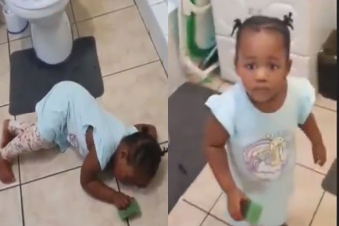 Watch The Moment Little Girl Pretended To Convulse After She Was Caught Doing This In The Washroom