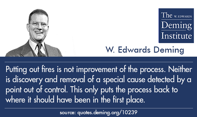 Putting Out Fires Is Not Improvement Of The Process Neither Is