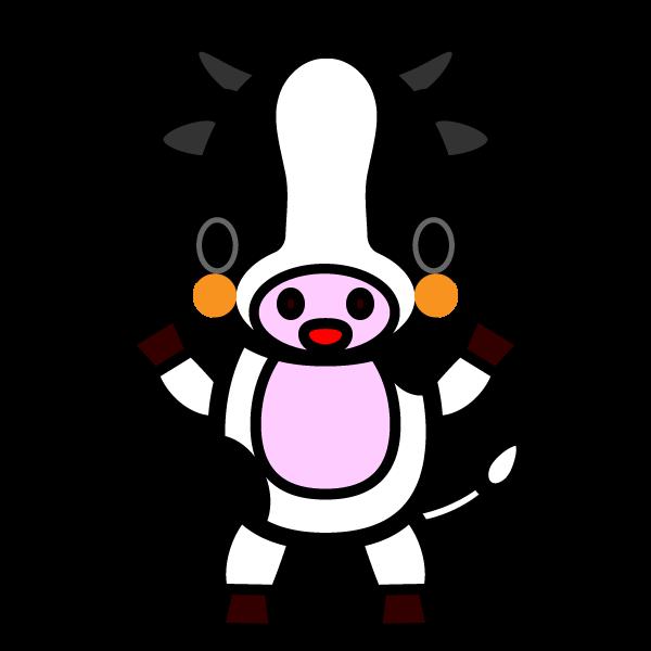 かわいい乳牛の無料イラスト商用フリー オイデ43