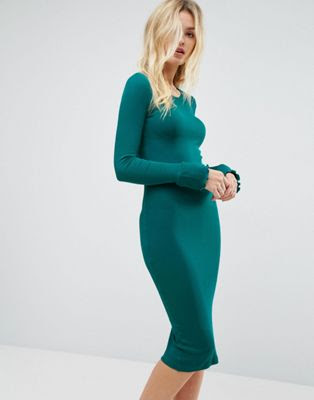 Evening kelly green bodycon dress for curvy