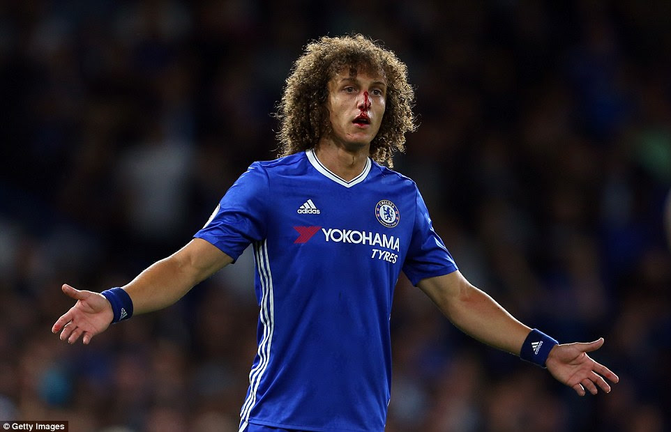 Chelsea defender David Luiz was left with a bloodied nose after a clash with Sadio Mane on his Premier League return