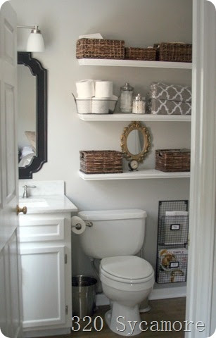 half bath powder room storage ideas with vertical shelves browwn wood mirror