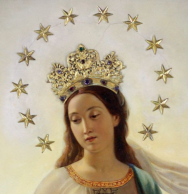 Our Lady of the Miracle (Madonna del Miracolo) with her head crowned and a halo-shaped ring of 12 stars