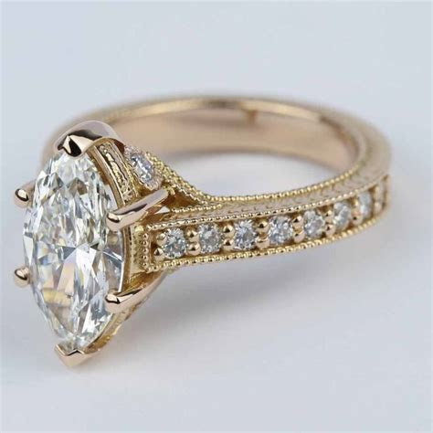 Hand Carved Milgrain Marquise Diamond Engagement Ring (2 ct.)