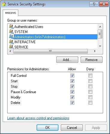 Ventana de ACLs de Windows predeterminada para agregar o quitar usuarios y permisos