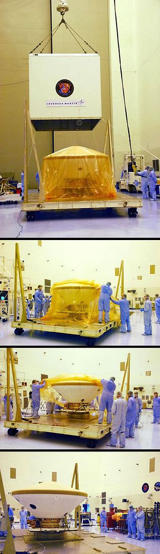 A photo montage showing technicians removing the crate and protective wrapping from around Phoenix (which is inside its protective back shell) at the Payload Hazardous Servicing Facility in Florida's Kennedy Space Center.